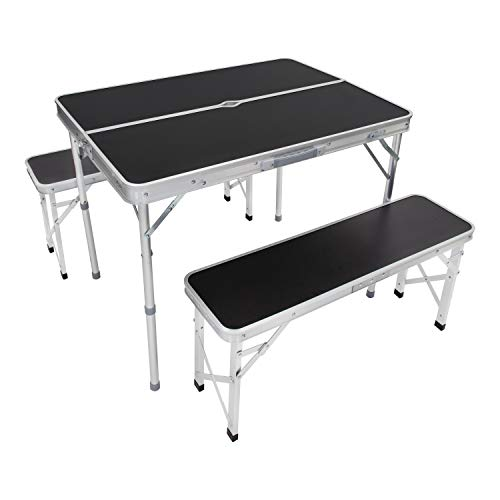 Milestone Camping 20189 Portable Camping Table and Bench with Parasol HoleOutdoor Foldable Picnic SetCarry Case Included