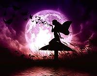 QMGLBG 5Dダイヤモンド塗装 暗い夜と月の妖精ダイヤモンド塗装クリスタルラインストーン工芸家の装飾30*40cm