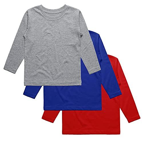 Camiseta Manga Larga niño Unisex, Pack de 3 Camisetas Lisas. Camiseta niño Colores Lisos. Camiseta Colegio, Camiseta Uniforme, Camiseta Interior. (Rojo, Azul y Gris, 3-4 años)