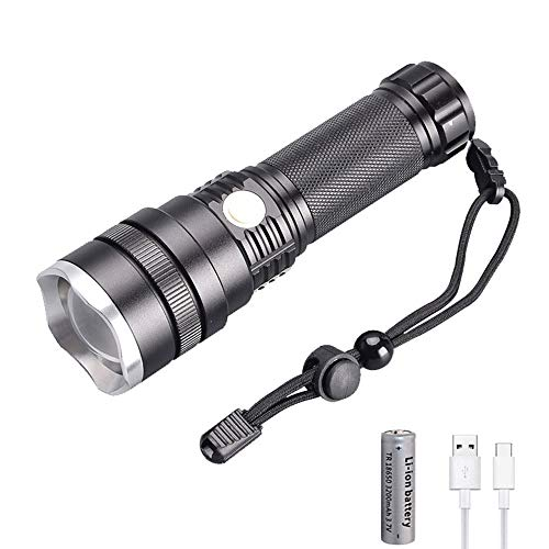 WESLITE Linterna LED Alta Potencia 5000 Lumens, XHP50 Linterna LED Recargable Super Brillante USB Linternas Táctica 3 Modos con Zoom para Acampar Pesca(Batería Incluida)