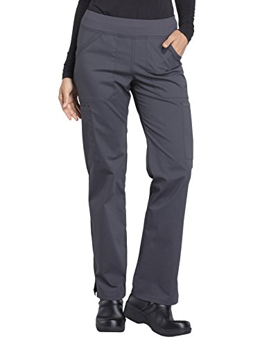 CHEROKEE Workwear Professionals WW170 Women's Mid Rise, Straight Leg Pull-On Pant, Pewter, Large Petite
