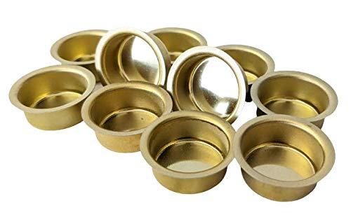 10er Set Kerzentüllen aus Metall, Gold, 22mm., Kerzeneinsatz, Kerzenhalter für Baumkerzen, Tafelkerzen und Teelichter