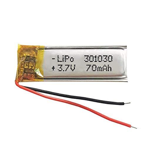 Batería 301030 LiPo 3.7V 70mAh 0.259Wh 1S 5C Liter Energy Battery para Electrónica Recargable teléfono portátil vídeo mp3 mp4 luz led GPS - No Apta para Radio Control 32x11x3mm (3.7V 70mAh 301030)