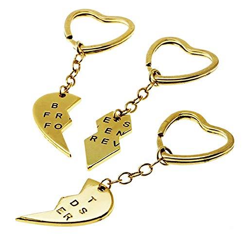 Llavero corazón Roto - 3 Piezas - Mejores Amigos para Siempre - Mejores Amigos - Amigos para Siempre - Idea de Regalo para Hombres y Mujeres - Lote de 3