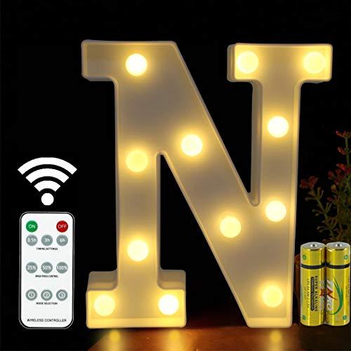 HONPHIER® Luces de letras con mando a distancia y alfabeto, lámpara LED para cartas, iluminada, letras, luces nocturnas, decoración para cumpleaños, fiestas, bodas