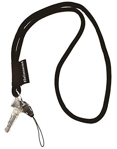 NRM-Products Schlüsselband lang als Schlüsselanhänger (schwarz - 45cm) - Band mit Ring für Schlüssel, Ausweis, Handy, Kamera - Lanyard für Damen, Herren & Kinder (Schwarz)