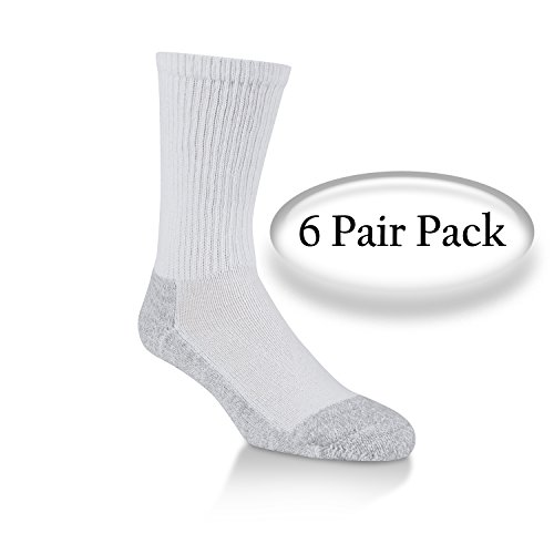 Power Cushioned Performance Crew X-Large 6 Pair Pack (White)