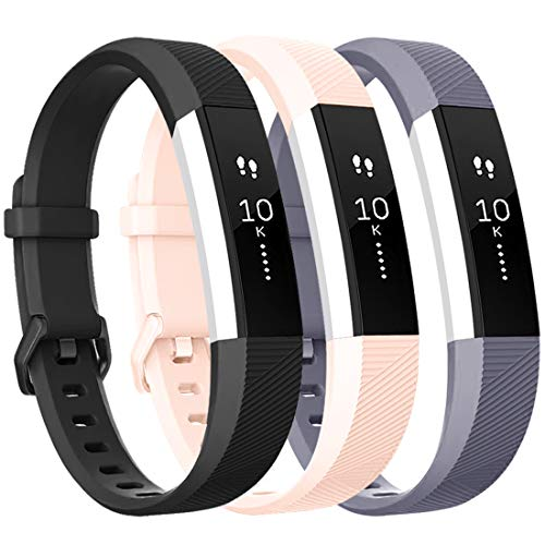 Tobfit Armband für Fitbit Alta HR Armband, Alta Armband Verstellbar Weich Ersatz Armbänder für Fitbit Alta HR und Fitbit Alta (Keine Uhr) (3-Pack Schwarz+Grau+Rosa, Kleine)
