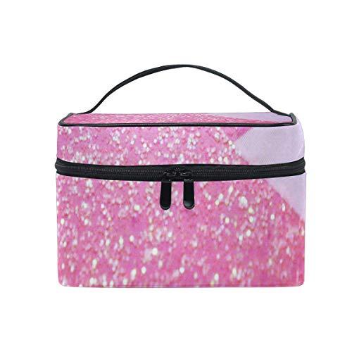 Trousse de maquillage Rose Coeur Glitter Impression Cosmétique Sac Portable Grand Trousse de Toilette pour Femmes/Filles Voyage