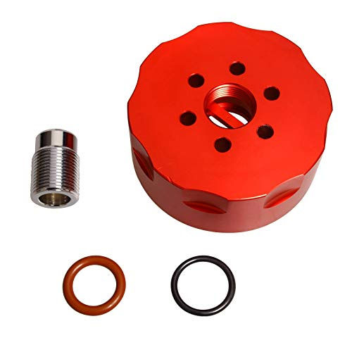SUPERFASTRACING CAT Fuel Filter Adapter Fit 2001-2016 DURAMAX LB7/LLY/LBZ/LMM/LML Chevy GMC Diesel Red