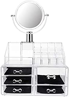 SODIAL Large Mirror Clear Cosmetic Organizer Box Makeup Storage Drawer Desk Bathroom Makeup Brush Lipstick Holder