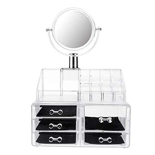 Timagebreze Grand Miroir Clair CosméTique Organisateur Bo?Te de Stockage de Maquillage Tiroir Bureau Salle de Bains Maquillage Brosse Titulaire de Rouge à LèVres