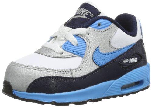 Nike Air Max 90 408110-155 Unisex-Baby Lauflernschuhe Mehrfarbig (White/Vivid Blue-Obsidian-Metallic Silver-Black 155) 22