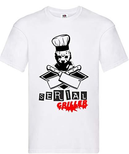 Hole Gadget S.r.l T Shirt da Uomo Divertenti Magliette Simpatiche Barbecue Accessori Regalo Maglietta Manica Corta Divertente Serial Griller (XL, Nero)
