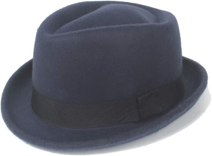 HHF Caps & Hats 2019 Winter Spring Fedora Hat, Felt Wool Black Ribbon Gentleman Church Hat Jazz Hat (Color : Navy Blue, Size : 56-58cm)