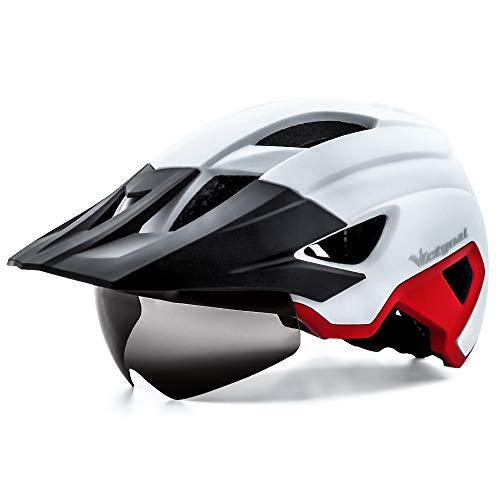 VICTGOAL Casco Bicicleta Adulto MTB Casco con Luz LED Trasera con Gafas Magnéticas Visera Extraíble Casco Bicicleta Ajustable para Hombres Mujeres (Blanco Rojo)