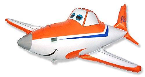 Ballonim® Flugzeug Orange/ Weiß ca. 80cm Luftballons Folienballon Party DekorationGeburtstag