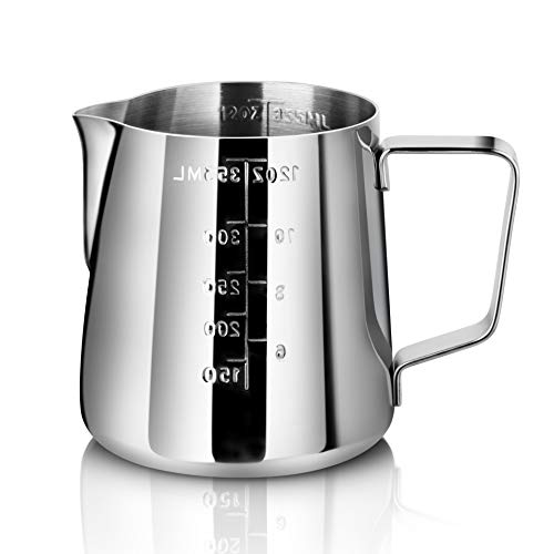 New Star Foodservice 28805 Commercial Grade Stainless Steel 18/8 Frothing Pitcher, 12-Ounce with...