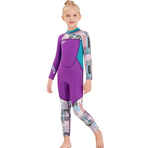 OPNIGHDYMD Kindertauchanzug, 2,5 Mm Einteiliger Warmer Badeanzug Mit Langen Ärmeln Für Herbst- Und Winter-Kälteschutz-Schnorchel-Surfanzug (Color : A, Size : S)