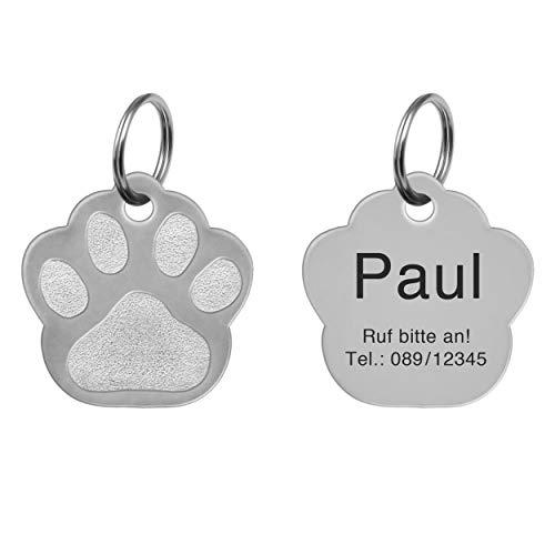 kultdog Pfote Hundemarke mit Gravur aus Edelstahl oder 24K Gold - Adressanhänger personalisiert in 2 Größen - Tiermarke für Hunde und Katzen inkl. Schlüsselring - Silber Klein