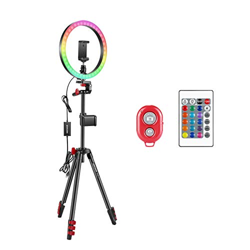 Neewer 12-inch RGB Ring Light Selfie Light Ring with Tripod Stand & Phone Holder, Infrared Remote Control, Dimmable 16 Colors & 4 Flash Modes for Makeup/Live Streaming/YouTube/Tiktok/Video Shooting