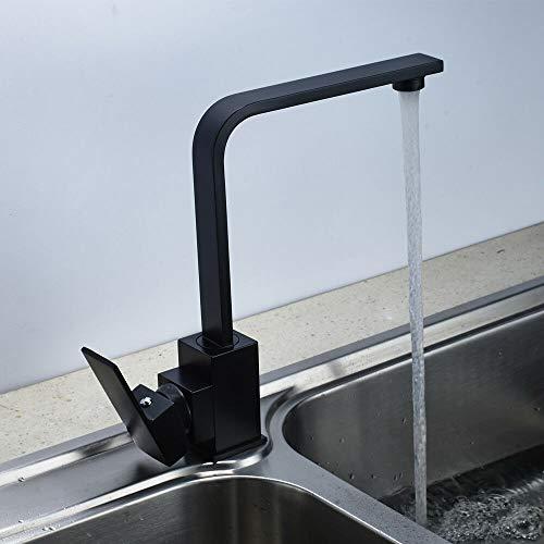 Grifo de cocina giratorio 360°, color negro