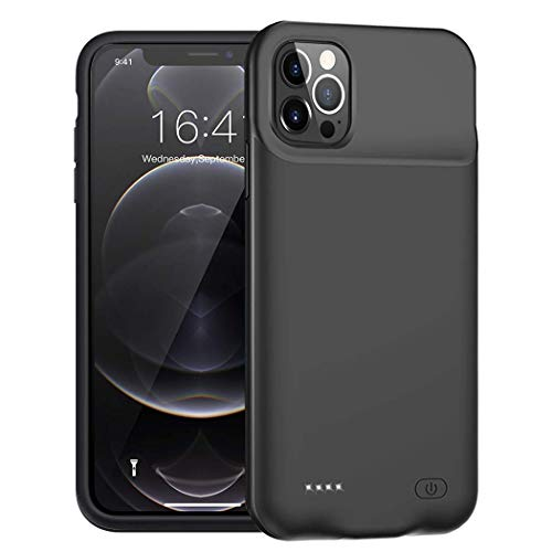 Battery Case for iPhone 12 Pro Max, 7000mAh Portable Protective Charging Case Compatible with iPhone 12 Pro Max (6.7 inch) Rechargeable Extended Battery Charger Case (Black)