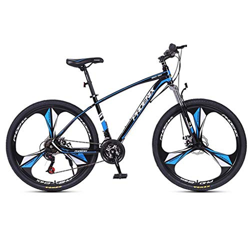 Mountain Bike,26inch Mag Wheel,Carbon Steel Frame Bicycles,24 Speed,Double Disc Brake and Front Suspension (Color : Black+Blue)
