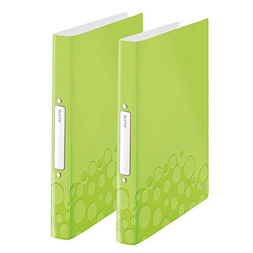 Leitz 42570064 Ringbuch wow, A4, PP, 2 Ringe, 25 mm, grün metallic (2 Ringe   Doppelpack)