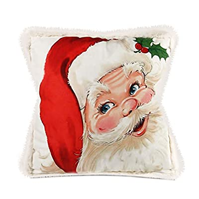 """Moonsky Christmas Decorative Throw Pillow, 18""""x18"""" Square Pillow Contains Pillow Cover and Core, for Sofa Bedroom Living Room Bedroom Car Christmas Decoration (Santa)"""