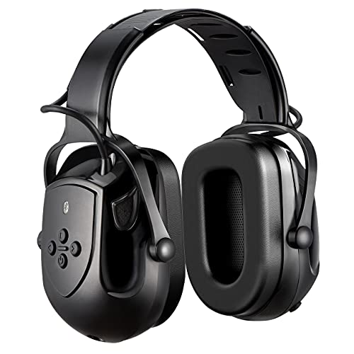 Wireless Hearing Protection, Noise Reduction Safety Ear Muffs, NRR 29dB/SNR 36dB Adjustable Ear Protection Headphones with 3.5mm AUX, Built-in Mic, Rechargeable Battery and Volume Control, Black