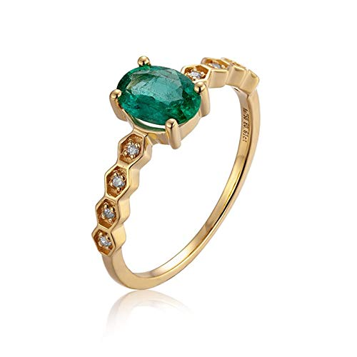 Cenliva Gold Ring for Women, Gay Engagement Ring Men18K Gold Ring 0.61ct Oval Shape Hexagon Emerald Emerald Diamond Ring Size L 1/2