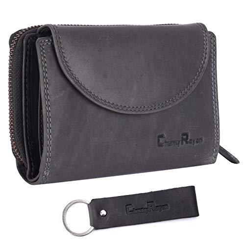 Chunkyrayan Bolsa de Cuero Real para Mujeres Protección RFID Vintage Incluye Llavero de Cuero GB-3 Grey