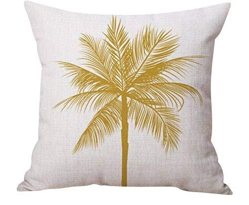 SoulSisters Living Funda de cojín con diseño de palmera amarilla para cojín de 45 x 45 cm, de algodón y lino