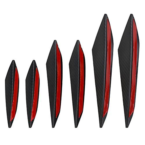 mlloaayo 6 Uds Auto Parachoques Delantero Labio Aleta Divisor De Goma Spoiler Canard Valence Pegatina para El Cuerpo Universal Negro Brillante Accesorios De Estilo De Coche