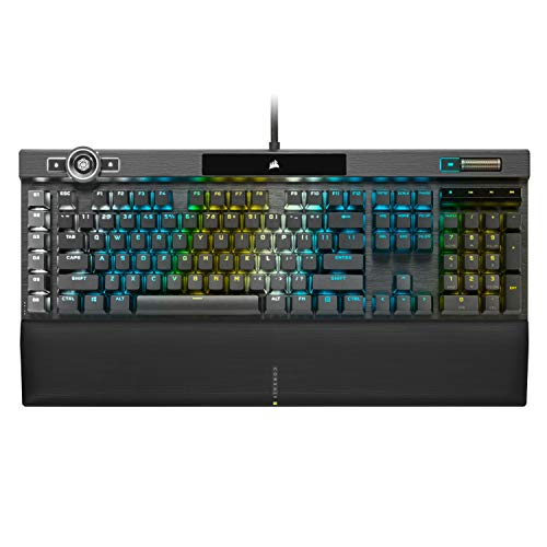 Corsair K100 RGB Mechanical Gaming Keyboard - Cherry MX Speed RGB Silver Keyswitches - AXON Hyper-Processing Technology for 4X Faster Throughput - 44-Zone RGB LightEdge - PBT Double-Shot Keycaps
