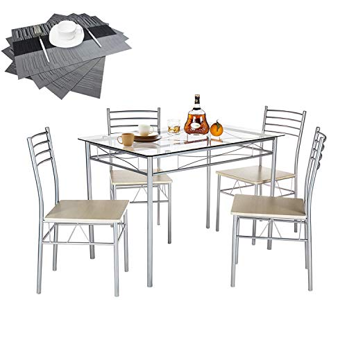 VECELO Dining Table Set with 4 Chairs [4 Placemats Included-], Silver