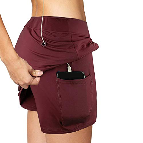 Youmymine Yoga Shorts for Womens Double Layer Elastic Waist Athletic Shorts with Pockets (Wine, M)