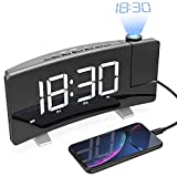 LightBiz Projection Alarm Clock, 7' Large LED Curved-Screen Projection Clock, FM Radio Alarm Clock,...