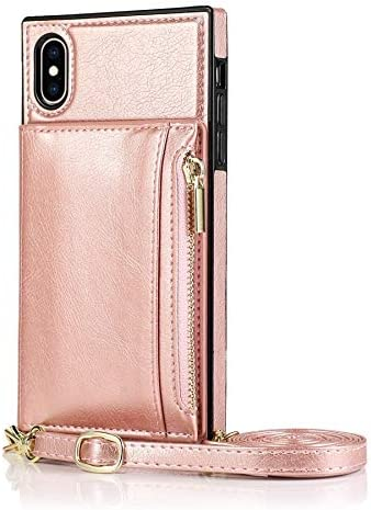 Happy-L Case for iPhone Xs, Zipper Wallet Case with Credit Card Holder/Crossbody Long Lanyard, Shockproof Leather TPU Case Cover for iPhone Xs (Color : Rosegold)