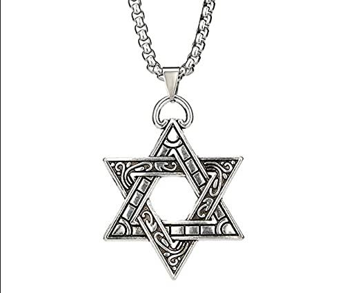 Pingente em Aço Inox com corrente Estrela Davi Rei Selo Salomão Israel Judeu