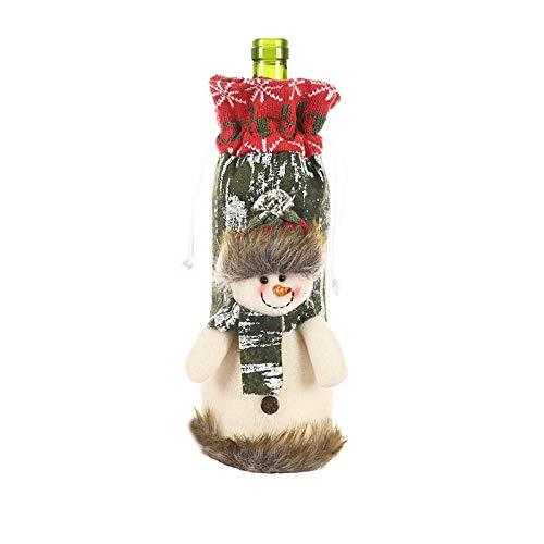 Cubierta de Botella de Vino de Punto de Navidad Bolsa de Corteza de Imitación Decoración de Mesa Ornamento de Fiesta de Cena de Navidad