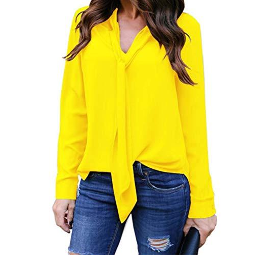 Lazzboy Damen Langarmshirt Mode Asymmetrisch Einfarbig Langarm Shirt Elegant Lose Tops Oversize Bluse Tunika (Gelb,42)