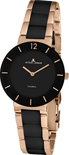 JACQUES LEMANS Damenuhr High Tech Keramik massiv Edelstahl ip-rosé 42-3C