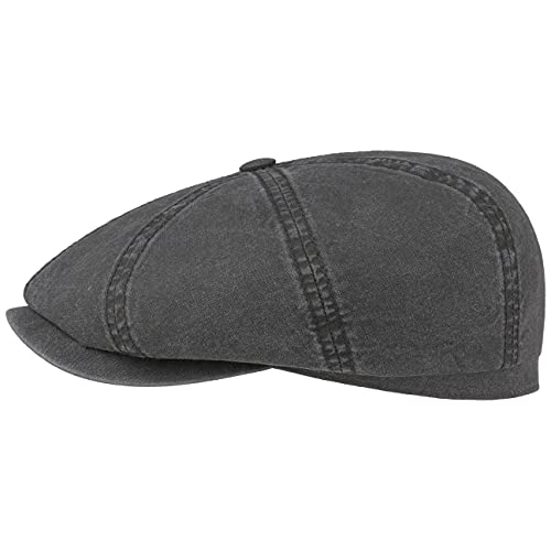 Stetson Hatteras Ballonmütze aus Bio-Baumwolle Herren - Nachhaltige Baumwollcap - Flatcap mit UV-Schutz 40 - Schiebermütze - Flat Cap Frühjahr/Sommer schwarz M (56-57 cm)