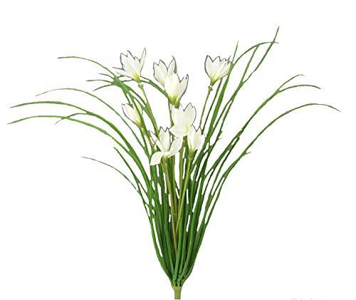 creativ home Kunstpflanze Gras - WILDKROKUSBUSCH mit 9 Krokus - Blüten. Ca 43 cm. In WEISS-40