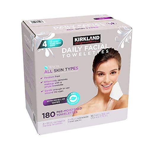Kirkland-Signature Daily Facial Towellettes, 4.53 Pound (180 Count, 1-Box)