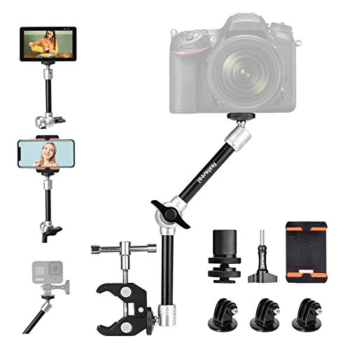 """11"""" Adjustable Heavy Duty Robust Magic Arm, DSLR Mirrorless Action Camera Camcorder Smartphone LCD Monitor Video Light Vlog Rig w/ Desk Pole Clamp Holder Mounts Kit fit for GoPro iPhone (10 lbs Load)"""