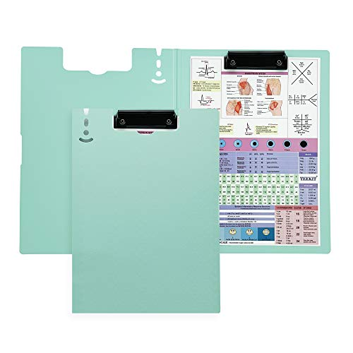 Nursing Clipboard Smile face Edition (Candy Color Lay-Open Pandding A4 Folder) with Medical Reference Sticker fits for Medical Students, Nurses, Doctors and General Staff (Teal)