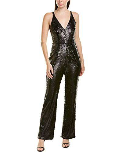 Dress the Population Women's Charlie Plunging Sequin Sleeveless Jumpsuit, Matte Black, XS